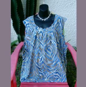 Maggie Barnes Taupe & Blue Zebra Stripe Blouse
